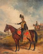 English School (19th century), Mounted portrait of an officer of the 10th Hussars, oil on canvas,