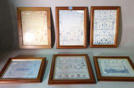 A group of six modern prints of needlework samplers, the largest 29cm wide x 37cm high.