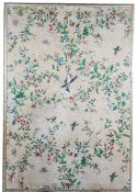 Eight Chinese wallpaper panels, early 19th century, laid onto canvas,