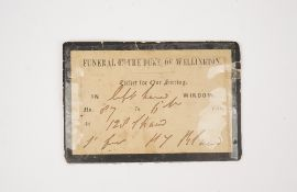 Funeral of the Duke of Wellington, (Nov 18, 1852) a printed ticket for one sitting, edged in black.
