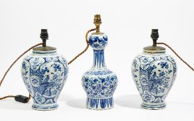 A pair of Dutch Delft blue and white vases adapted as lamps, late 18th/19th century,