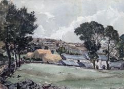 Claude Muncaster (British, 1903-1974), Farm in a landscape, watercolour, signed, 20cm x 28cm.