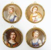 A set of four small Continental porcelain circular plaques, probably German, late 19th century,