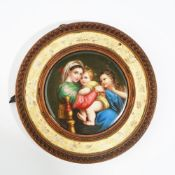 A Continental porcelain circular plaque, Italian or German, late 19th century,