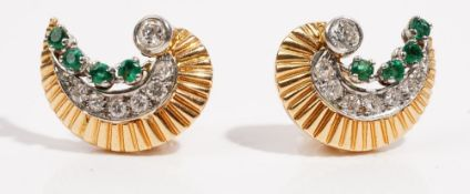 A pair of crescent shaped gold,