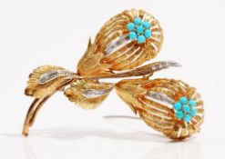 An 18ct gold turquoise and diamond-set brooch Of flower spray design,