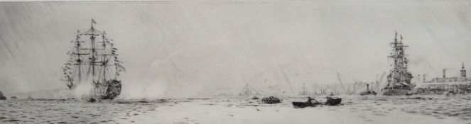 William Lionel Wyllie (British 1851-1931), Tall ships off the coast, etching, signed, 9cm x 33cm.