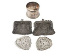A silver chain mesh purse, import mark London 1906, a foreign chain mesh purse,