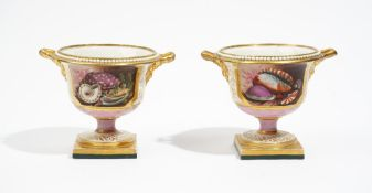 A pair of Barr, Flight & Barr Worcester two- handled pink- ground urns, circa 1810,
