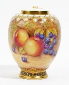 A Royal Worcester bone china pot pourri vase, pierced cover and inner lid,