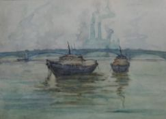 Louis Thomson (British, 20th century), River scene with boats, probably the Thames, watercolour,