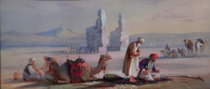 English School (19th century), Desert scene with arab figures, watercolour and bodycolour,