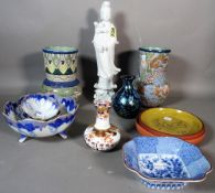 Ceramics; an Asian 'blanc de chine' figure of Guan Yin, Asian style pottery vases,