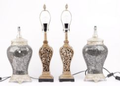 A pair of modern table lamps of baluster form, with a crackle glaze design, 51cm high,