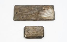 Silver, comprising: a rectangular cigarette case, with engine turned decoration,