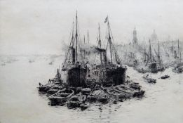 William Lionel Wyllie (British 1851-1931), Trawlers and rowing boats, etching, signed, 19cm x 27.