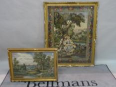 A group of three modern gilt framed needlework tapestries, the largest 106cm wide x 132cm high,