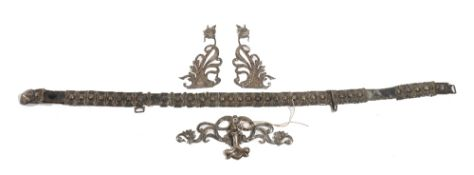 A Southern Russian niello decorated waistbelt and buckle,