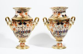 A pair of English porcelain Japan pattern two-handled ice pails and covers, probably Spode,