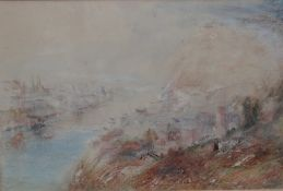 Manner of Joseph Mallord William Turner, View of an estuary town, pastel, 25.5cm x 38cm.