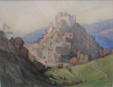 Lucy, Lady Hume Williams (British, 1862-1948), Italian Hillside town, watercolour, signed,