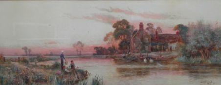 Walter Stuart Lloyd (British, 1845 - 1959), Golden evening on the Arun, Sussex, watercolour,