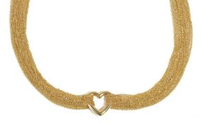 A Tiffany & Co 18ct gold, open heart necklace,