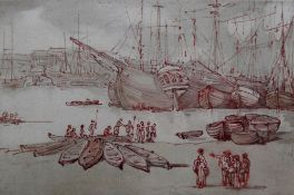 Circle of Thomas Rowlandson, A Harbourside, pen, ink and wash, 10.5cm x 16cm.