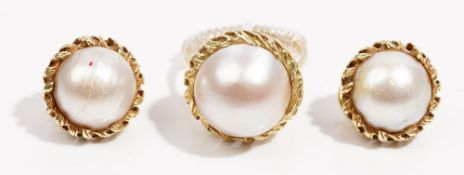 A mabé cultured pearl ring and earclip suite Set in 14k yellow gold, gross weight 23.