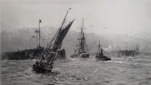 William Lionel Wyllie (British 1851-1931), The harbour mouth, etching, signed, 11cm x 19.5cm.