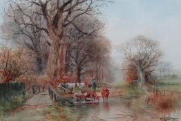 Henry Charles Fox (British, 1855-1929), The watering place, watercolour, signed and dated 1910, 37.
