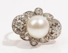 A cultured pearl and diamond-set dress ring Of lozenge design,