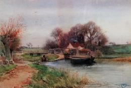 Henry Charles Fox (British, 1855-1929), Barge on the canal, watercolour, signed and dated 1902,