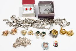 A collection of costume jewellery Comprising a pair of gilt metal earclips;