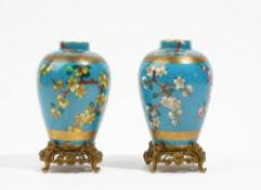 A pair of small French porcelain turquoise-ground ovoid vases, late 19th century,