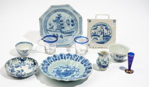 A group of European and Asian blue and white ceramics, various dates,