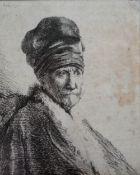 Rembrandt van Rijn (Dutch, 1606-1669), Bust of a man wearing a high cap, etching, 11cm x 8cm.