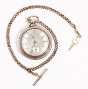 A Victorian pear cased silver pocket watch; the engine turned silver dial,