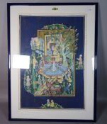 A modern Indian painted silkwork picture, 50cm wide x 73cm high, and another smaller,