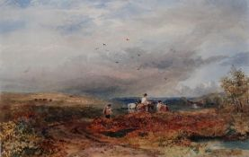 J** A** (19th century), Travellers in a landscape, watercolour, signed with monogram and dated 1863,