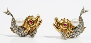 A pair of ruby, cultured pearl and diamond-set earclips Designed as exotic fish,