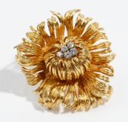 A diamond-set 18ct gold brooch by Grosse of Germany Of abstract flowerhead design,