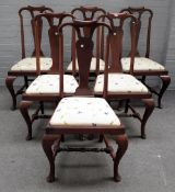 A set of six 19th century walnut vase back dining chairs, of Queen Anne design on pad feet, (6).