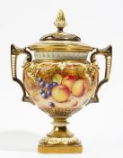 A Royal Worcester bone china two- handled pot pourri vase and cover,