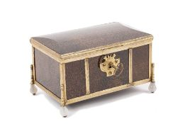 A French speckled agate and gilt metal casket, late 19th century,
