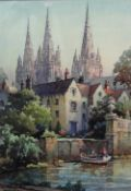 George Ayling (British, 1887-1960), Sunlit spires, Lichfield Cathedral, watercolour, signed,