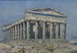 Ernest George W. Souster (British, 1882-1953), The Temple of Paestum, watercolour, signed, 33.