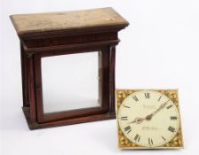 A white painted 30 hour longcase clock movement, circa 1840, the 11 inch square dial,