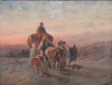 Emilio Costantini (19th/20th century), Travellers in the desert, watercolour, signed, 42cm x 55cm.