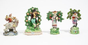 Four Staffordshire earthenware figures, circa 1820-30,